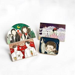 Wholesale professional custom anime khoan kpop idol pins metal custom hard soft enamel pins bts.