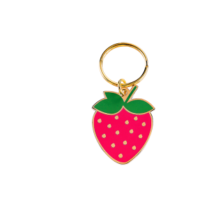 Strawberry shape hard enamel key chain